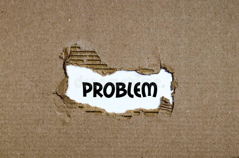 Das Wortproblem, das hinter heftigem Papier erscheint stockfoto