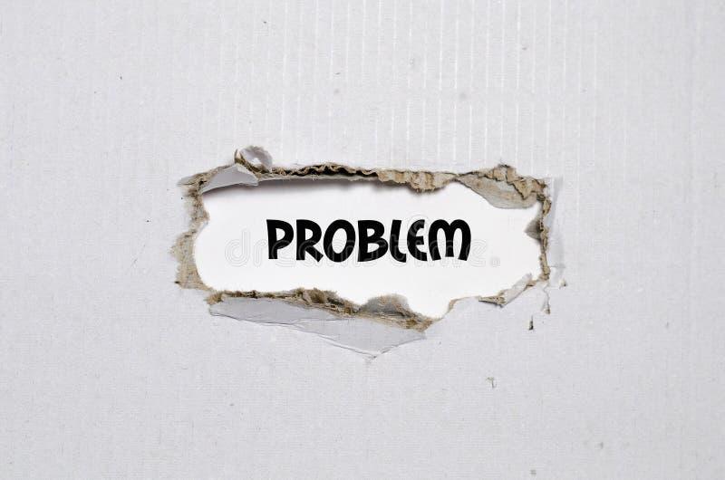 Das Wortproblem, das hinter heftigem Papier erscheint lizenzfreies stockfoto