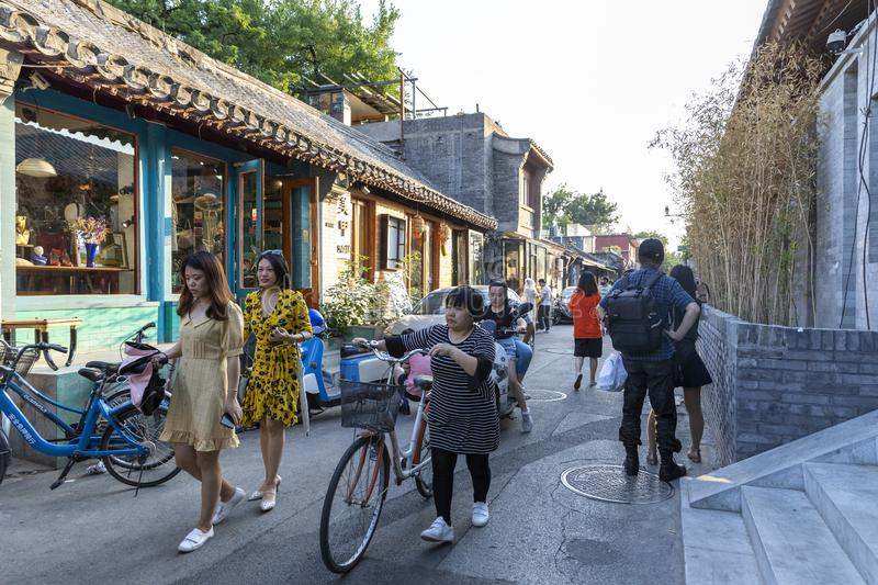 Das Wudaoying Hutong in Peking, China, ist eins der Handels-hutongs in Peking lizenzfreies stockbild