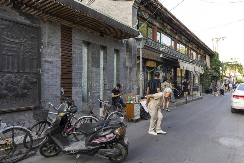 Das Wudaoying Hutong in Peking, China, ist eins der Handels-hutongs in Peking stockbilder