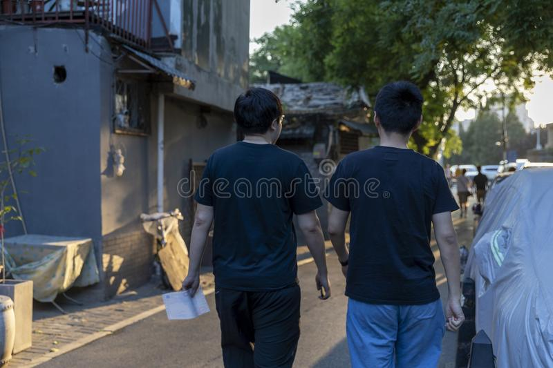 Das Wudaoying Hutong in Peking, China, ist eins der Handels-hutongs in Peking stockbilder