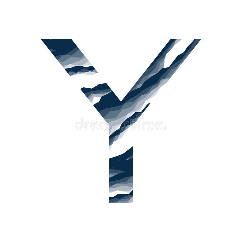 Das Ypsilon, im Alphabetzusammenfassungs-Hintergrundmarmor, Barke, Berg, Steinschicht stellte dunkelblaue Schattenfarbe lokalisie stock abbildung