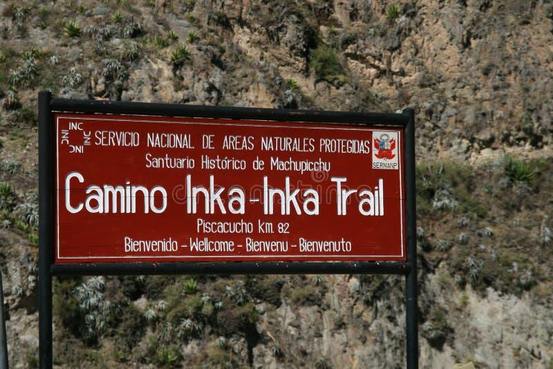 Das Zeichen für Inkahinterwanderung, Peru lizenzfreie stockfotos