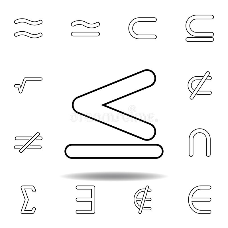 das Zeichen ist kleiner als und Gleichgestelltes zur Ikone Dünne Linie Ikonen eingestellt für Websiteentwurf und Entwicklung, App vektor abbildung