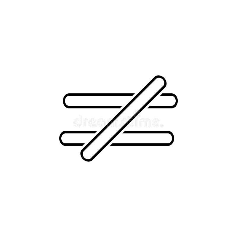 das Zeichen ist nicht Ikone gleich Dünne Linie Ikone für Websitedesign und Entwicklung, APP-Entwicklung Erstklassige Ikone stock abbildung