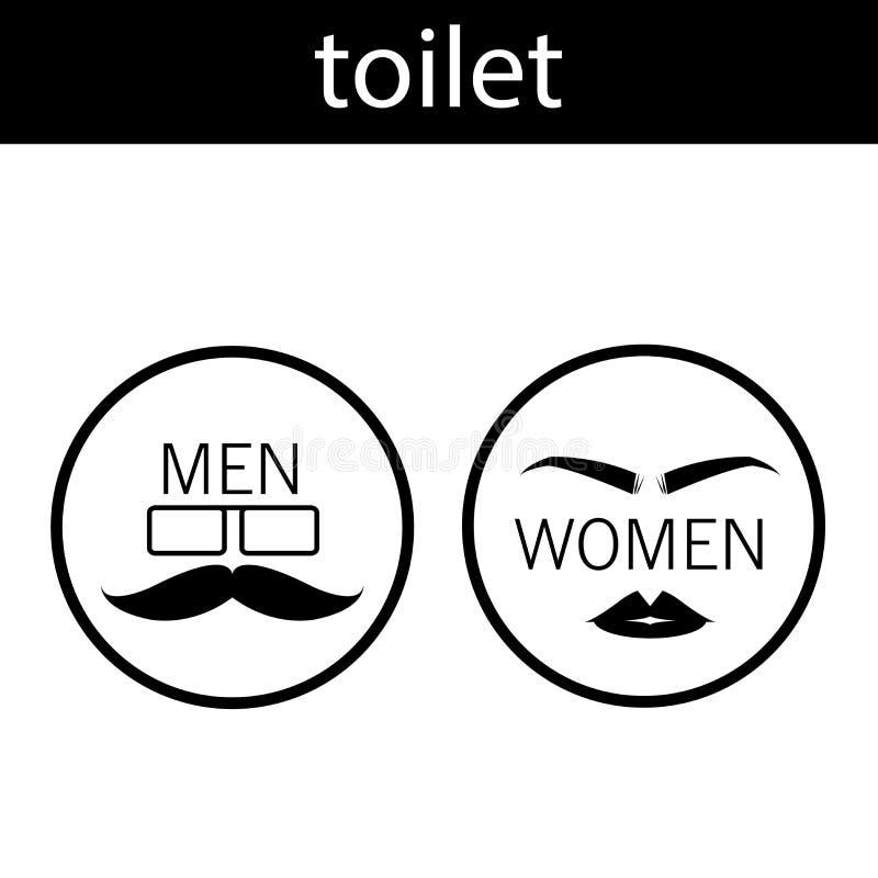Das Zeichen vor dem Badezimmersymbol für Männer und Frauen hat einen Schwarzweiss-Vektorentwurf lizenzfreie abbildung