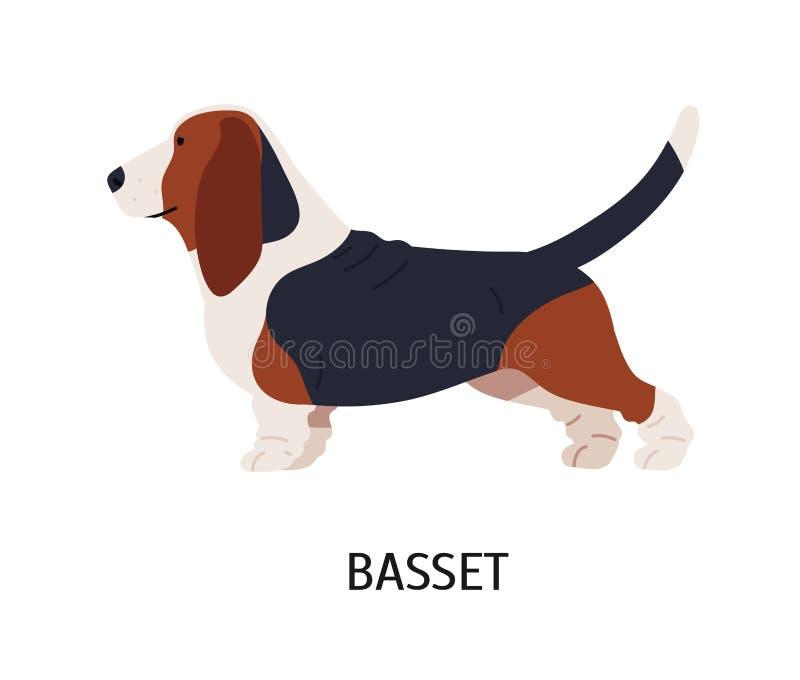 Das Zeichnen, gebildet die Bewegung in Form eines dynamischen umreißschwarzen zeichnet auf Weißbuch Netter lustiger Jagdhund oder lizenzfreie abbildung