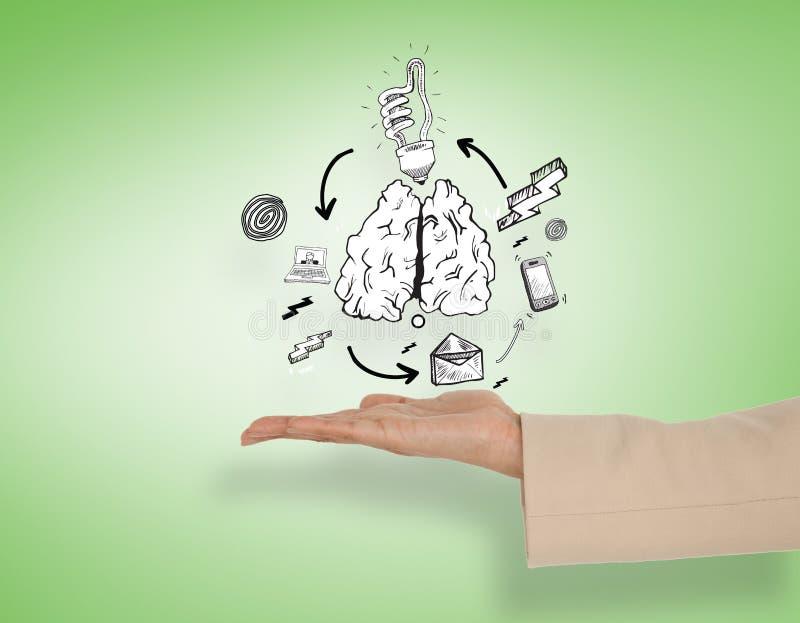 Das zusammengesetzte Bild der weiblichen Hand Lungen darstellend kritzeln stockbilder