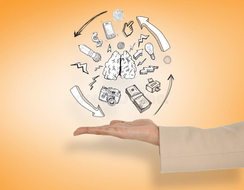 Das zusammengesetzte Bild der weiblichen Hand Lungen darstellend kritzeln stockfoto