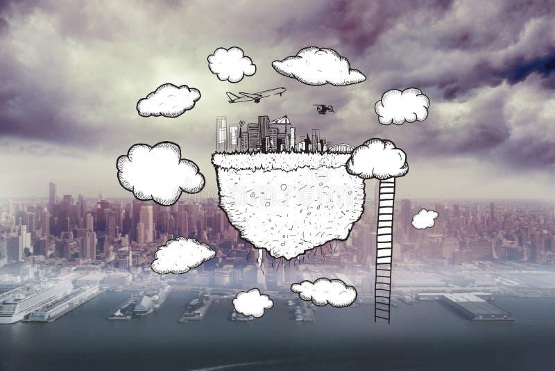 Das zusammengesetzte Bild der Wolke rechnend mit Stadtbild und die Leiter kritzeln stockfotografie