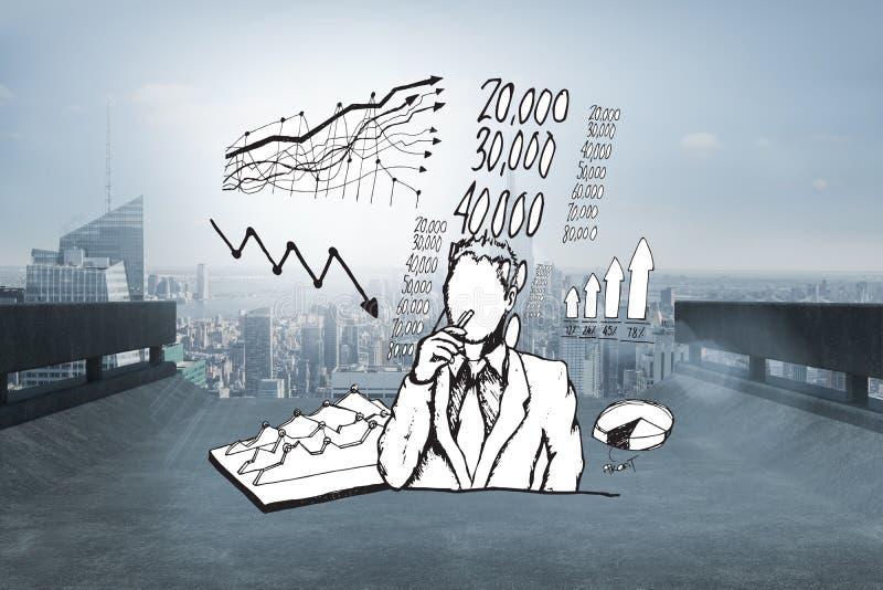 Das zusammengesetzte Bild des Geschäftsmannes denkend an Daten kritzeln stockbild
