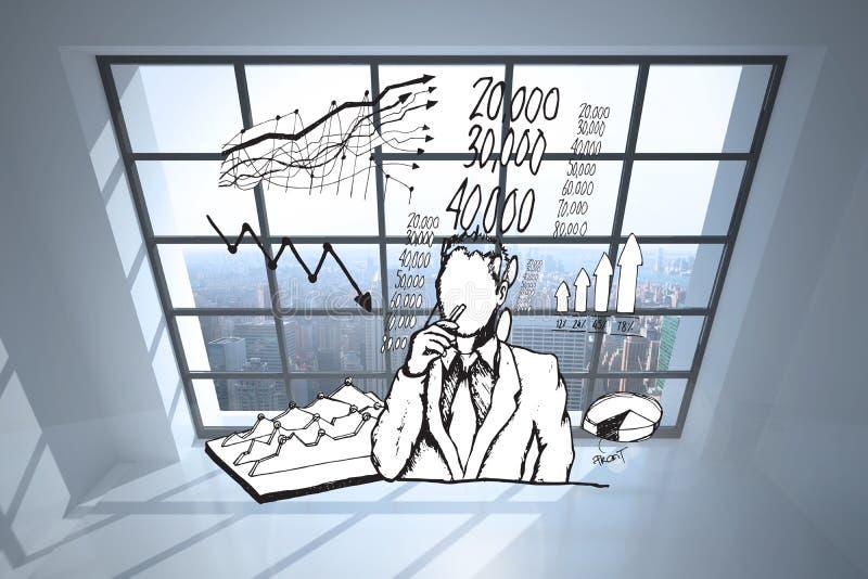 Das zusammengesetzte Bild des Geschäftsmannes denkend an Daten kritzeln stockfotografie