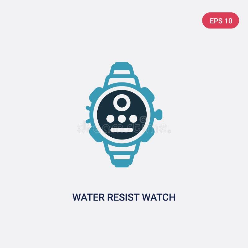 Das zwei Farbwasser widersteht Uhrvektorikone vom Seekonzept lokalisiertes blaues Wasser widersteht Uhrvektor-Zeichensymbol kann  lizenzfreie abbildung