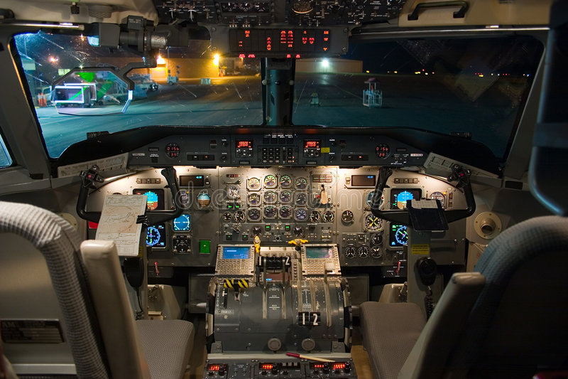 Dash-8-200 Flight Deck stock images