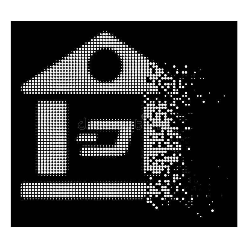 Bright Dust Pixel Halftone Dash Bank Building Icon. Dash bank building icon with dissolving effect on black background. White cells are arranged into vector stock illustration