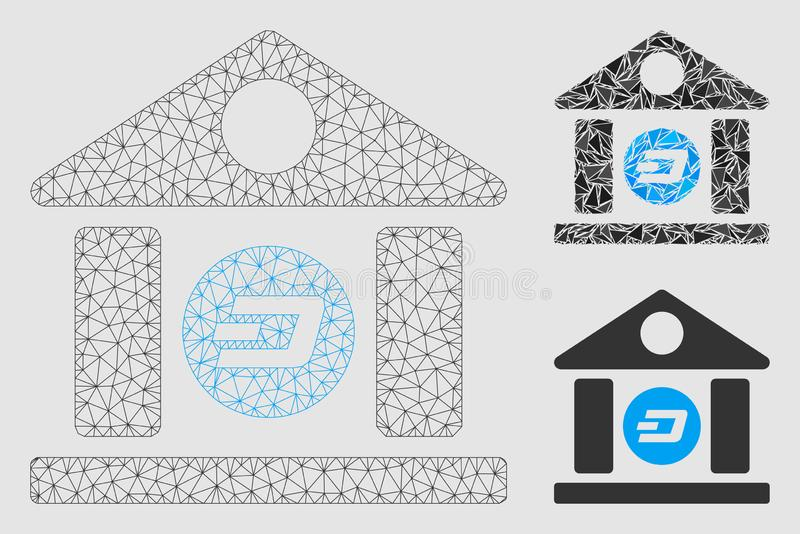 Dash Bank Building Vector Mesh 2D Model and Triangle Mosaic Icon. Mesh Dash bank building model with triangle mosaic icon. Wire carcass polygonal mesh of Dash vector illustration
