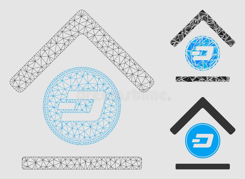 Dash Bank Vector Mesh 2D Model and Triangle Mosaic Icon. Mesh Dash bank model with triangle mosaic icon. Wire frame triangular mesh of Dash bank. Vector mosaic vector illustration