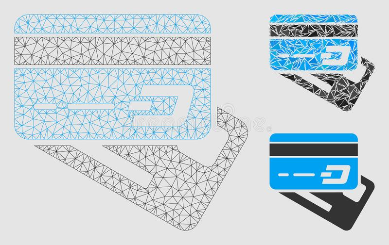 Dash Banking Cards Vector Mesh 2D Model and Triangle Mosaic Icon. Mesh Dash banking cards model with triangle mosaic icon. Wire carcass polygonal network of Dash royalty free illustration