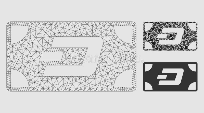 Dash Banknote Vector Mesh Carcass Model and Triangle Mosaic Icon. Mesh Dash banknote model with triangle mosaic icon. Wire carcass triangular network of Dash royalty free illustration