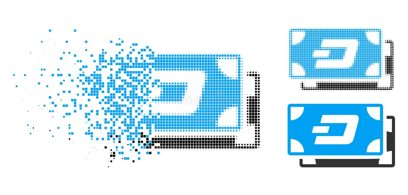 Shredded Pixelated Halftone Dash Banknotes Icon. Dash banknotes icon in dispersed, pixelated halftone and undamaged whole variants. Pixels are grouped into royalty free illustration