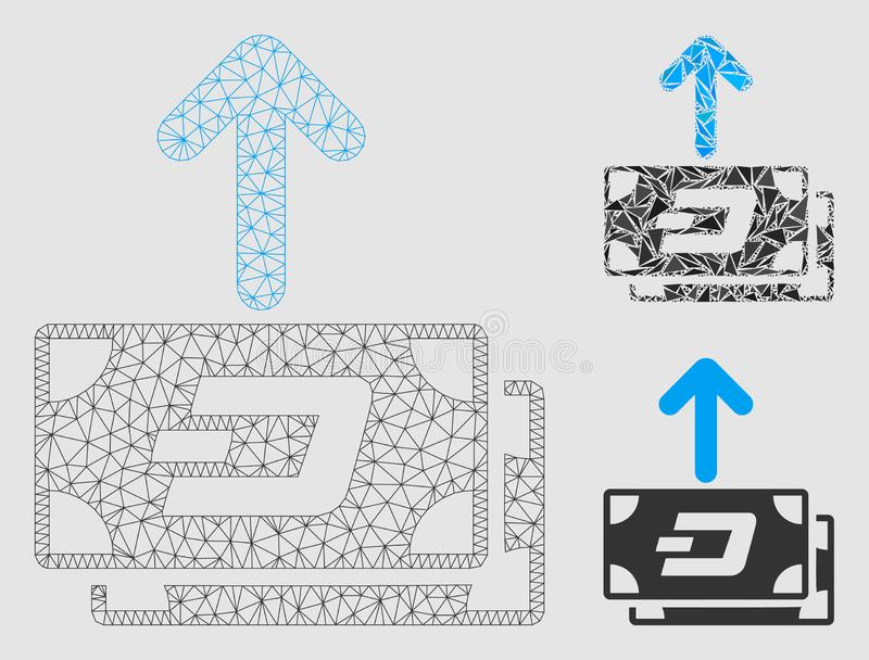 Dash Banknotes Pay Out Vector Mesh Carcass Model and Triangle Mosaic Icon. Mesh Dash banknotes pay out model with triangle mosaic icon. Wire frame polygonal mesh royalty free illustration