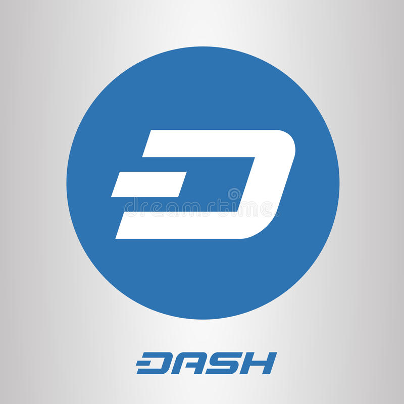Dash blockchain cripto currency logo. Dash open-source cripto currency on blockchain technology , icon, sign for print and web vector illustration