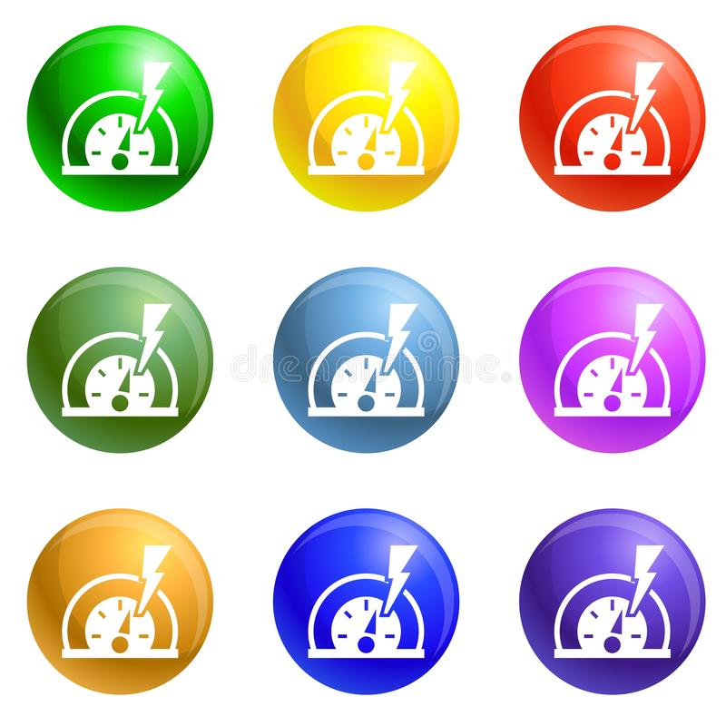 Dash board energy icons set vector. Dash board energy icons vector 9 color set isolated on white background for any web design stock illustration