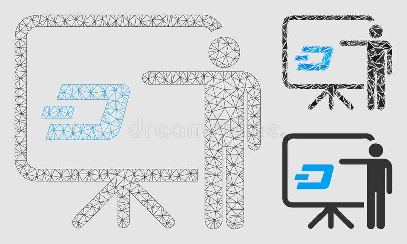 Dash Board Presentation Person Vector Mesh 2D Model and Triangle Mosaic Icon. Mesh Dash board presentation person model with triangle mosaic icon. Wire frame royalty free illustration