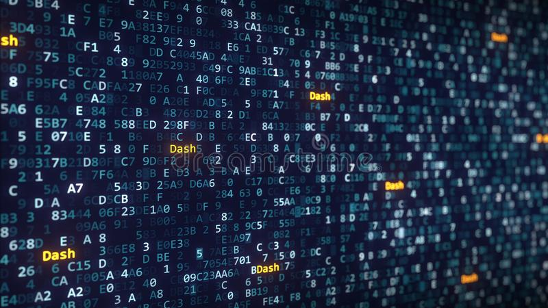 Dash captions appearing among changing hexadecimal symbols on a computer screen. 3D rendering. Dash captions appearing among changing hexadecimal symbols stock illustration