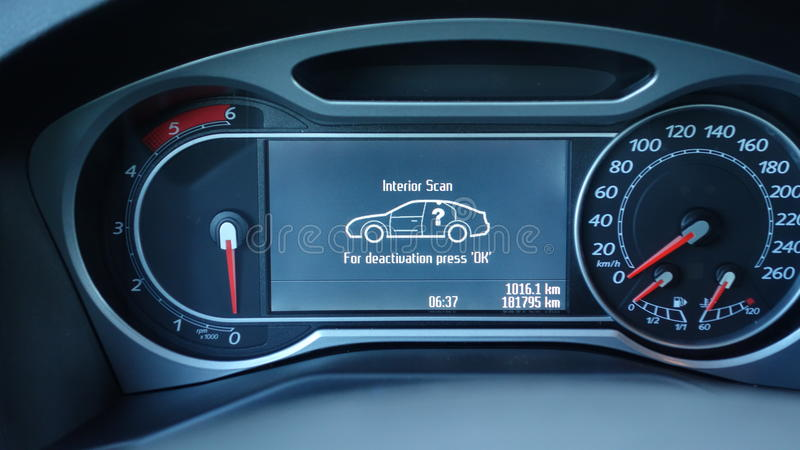 In dash car cluster panel. Speedometer, RPM and alarm message. Interior alarm scan perimeter, engine shut down, gauges off, big lcd display, modern car stock photos