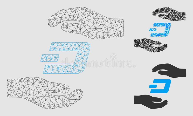 Dash Care Hands Vector Mesh 2D Model and Triangle Mosaic Icon. Mesh Dash care hands model with triangle mosaic icon. Wire carcass polygonal mesh of Dash care vector illustration