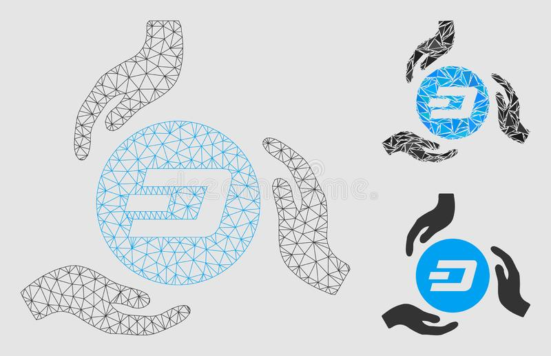 Dash Coin Care Hands Vector Mesh Wire Frame Model and Triangle Mosaic Icon. Mesh Dash coin care hands model with triangle mosaic icon. Wire frame triangular mesh stock illustration