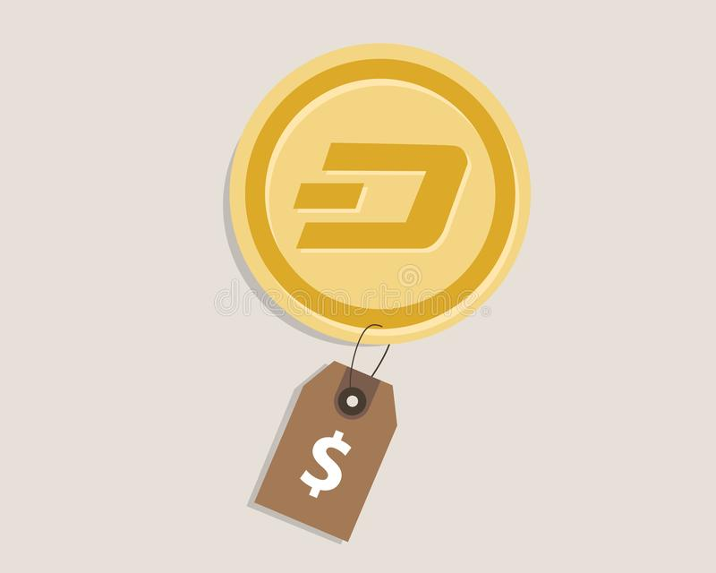 Dash coin price value of crypto-currency in dollar price tag digital money block chain investment concept. Vector stock illustration