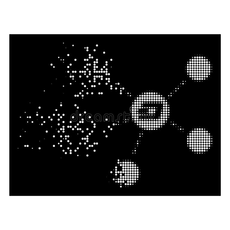 Bright Dispersed Dotted Halftone Dash Coin Relations Icon. Dash coin relations icon with dissipated style on black background. White fragments are combined into vector illustration