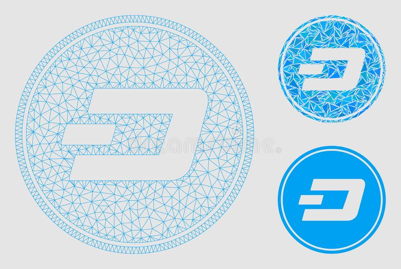Dash Coin Vector Mesh 2D Model and Triangle Mosaic Icon. Mesh Dash coin model with triangle mosaic icon. Wire frame triangular mesh of Dash coin. Vector mosaic vector illustration