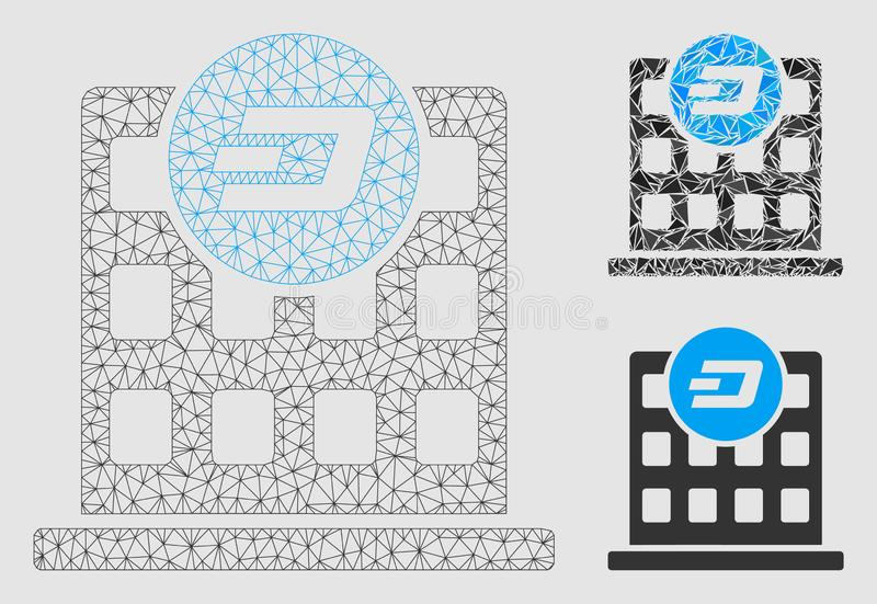 Dash Company Building Vector Mesh 2D Model and Triangle Mosaic Icon. Mesh Dash company building model with triangle mosaic icon. Wire frame triangular mesh of royalty free illustration