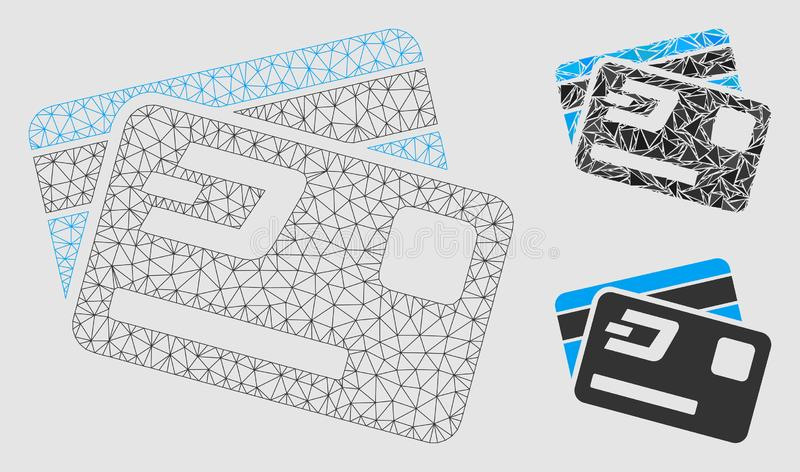 Dash Credit Cards Vector Mesh Wire Frame Model and Triangle Mosaic Icon. Mesh Dash credit cards model with triangle mosaic icon. Wire frame polygonal network of vector illustration