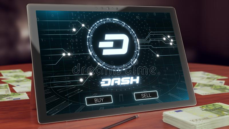 Dash cryptocurrency logo on the pc tablet, 3D illustration. Dash cryptocurrency logo on the pc tablet display. Neon bright symbol, buy and sell buttons, 3D royalty free illustration