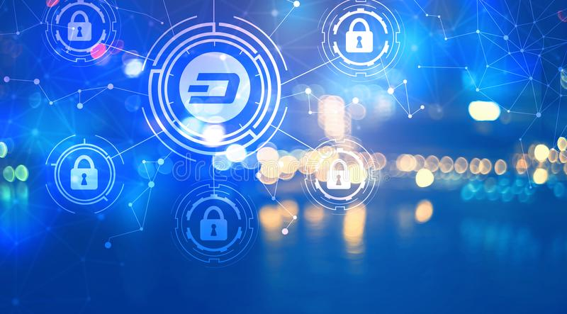 Dash cryptocurrency security theme with city lights at night. Dash cryptocurrency security theme with blurred city lights at night royalty free illustration