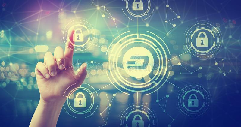 Dash cryptocurrency security theme with hand pressing a button royalty free stock photo