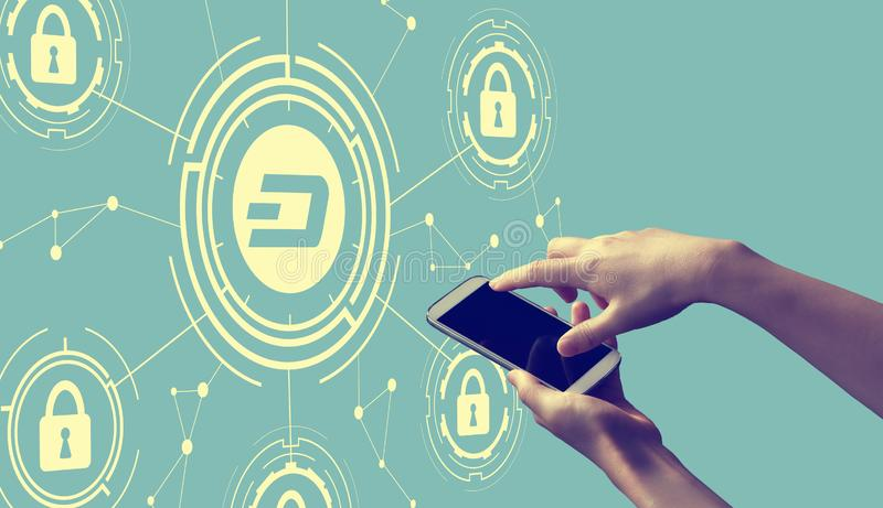 Dash cryptocurrency security theme with person holding smartphone. Dash cryptocurrency security theme with person holding a white smartphone vector illustration