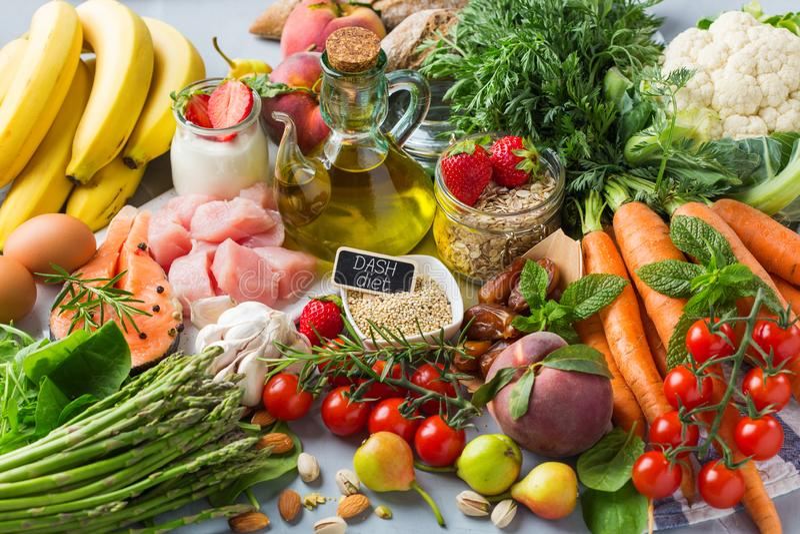 DASH flexitarian mediterranean diet to stop hypertension, low blood pressure. Balanced nutrition concept for DASH clean eating flexitarian mediterranean diet to royalty free stock images
