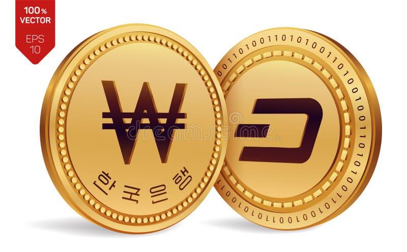 dash gagné pièces de monnaie 3D physiques isométriques Devise de Digital La Corée a gagné la pièce de monnaie avec le texte à la  illustration de vecteur