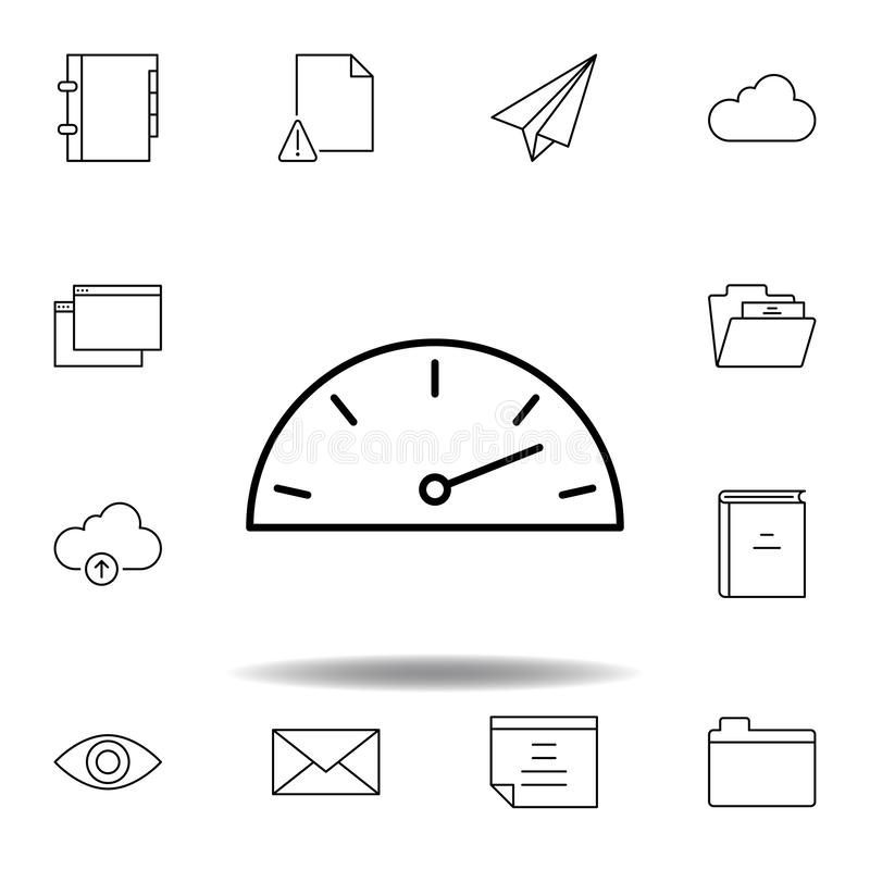 Dash gauge speed outline icon. Detailed set of unigrid multimedia illustrations icons. Can be used for web, logo, mobile app, UI,. UX on white background royalty free illustration