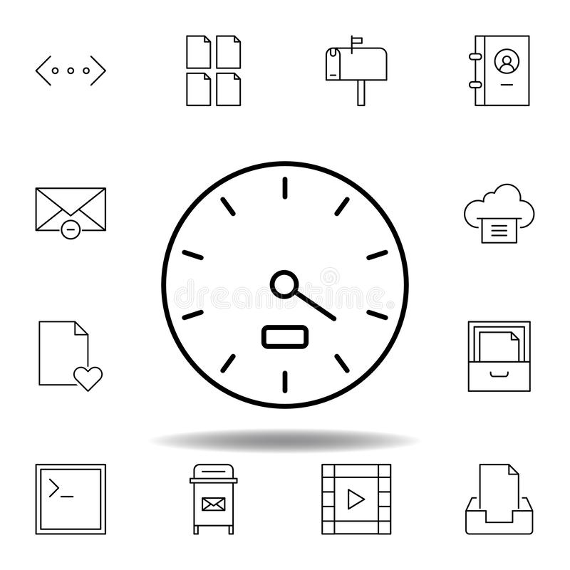 Dash gauge speed outline icon. Detailed set of unigrid multimedia illustrations icons. Can be used for web, logo, mobile app, UI,. UX on white background stock illustration
