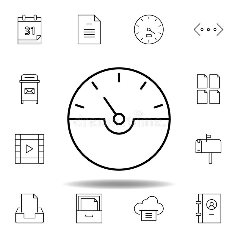 Dash gauge speed outline icon. Detailed set of unigrid multimedia illustrations icons. Can be used for web, logo, mobile app, UI,. UX on white background vector illustration