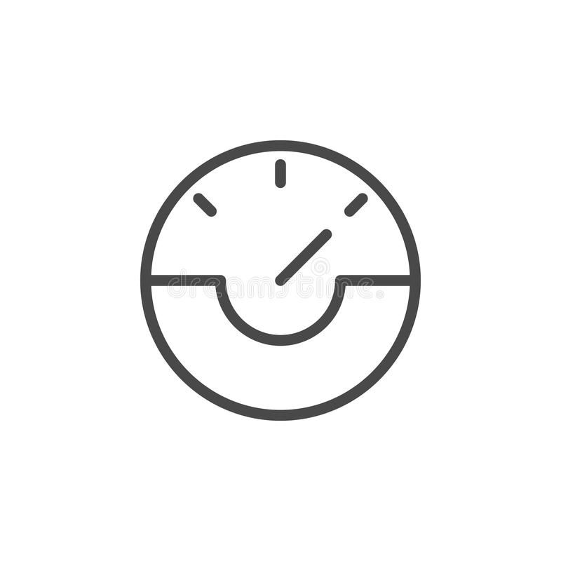 Dash, gauge, speed vector icon. Multimedia minimalist outline vector icon. On white background royalty free illustration
