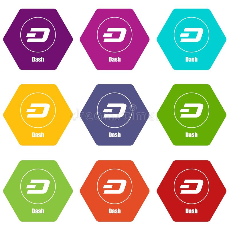 Dash icons set 9 vector. Dash icons 9 set coloful isolated on white for web royalty free illustration