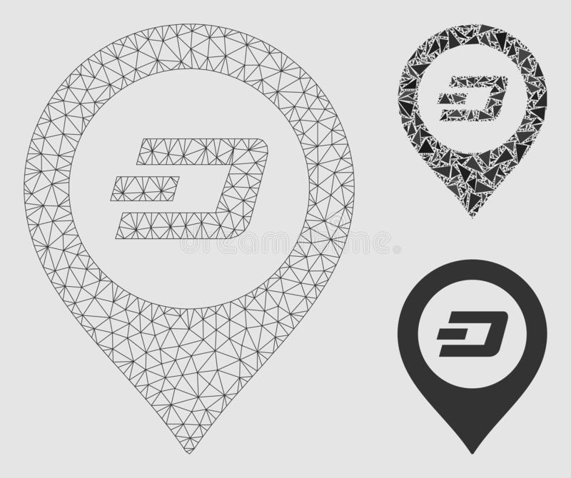 Dash Map Pointer Vector Mesh 2D Model and Triangle Mosaic Icon. Mesh Dash map pointer model with triangle mosaic icon. Wire frame polygonal mesh of Dash map royalty free illustration