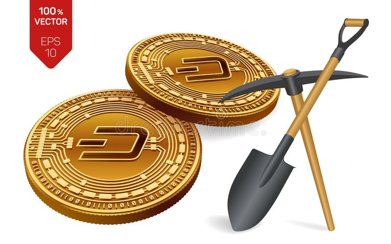 Dash mining concept. 3D isometric Physical bit coin with pickaxe and shovel. Digital currency. Cryptocurrency. Golden Dash coins. Isolated on white background vector illustration